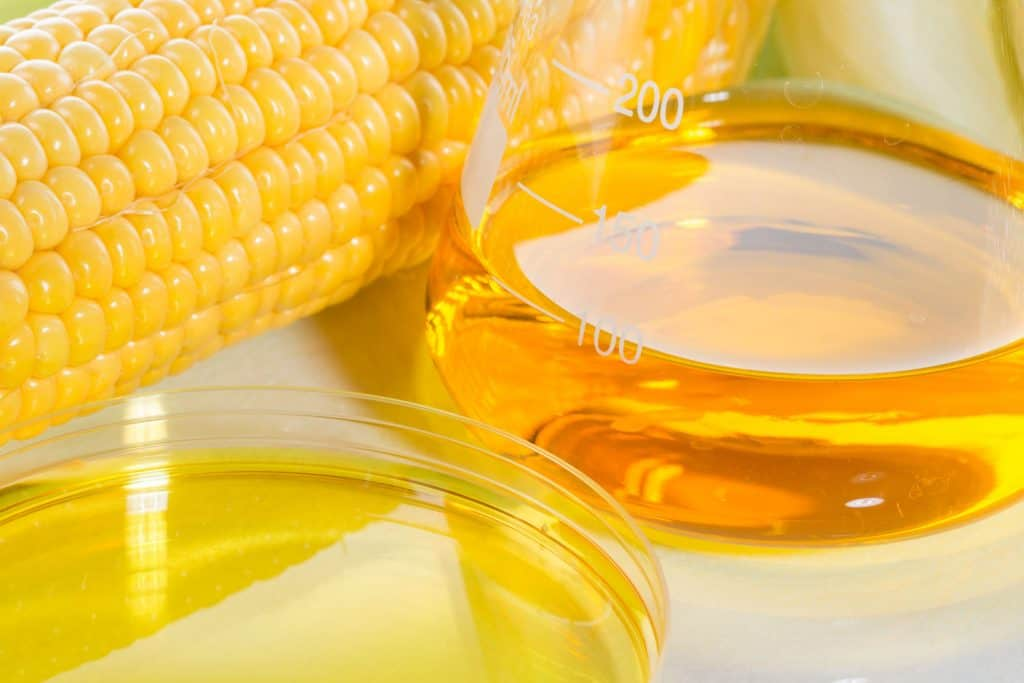 A small container with corn syrup next on a corncob