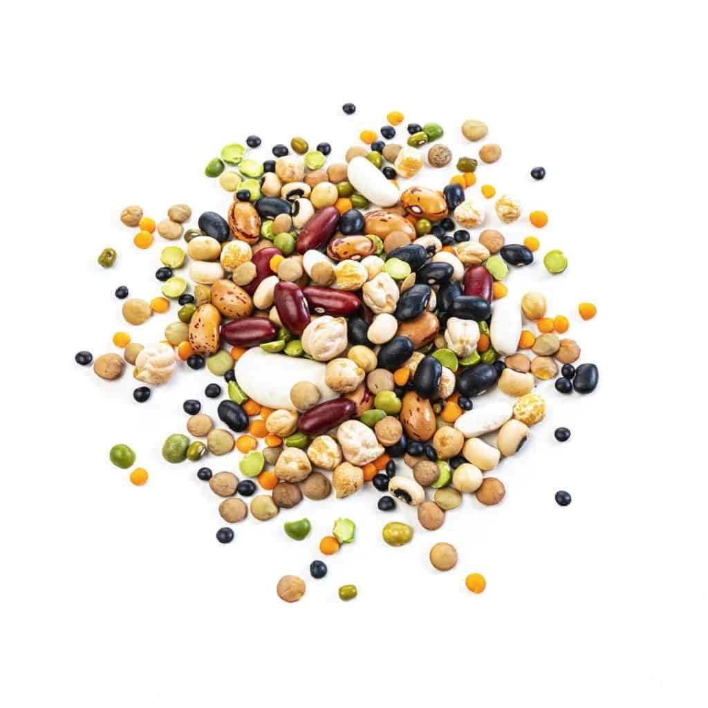 Beans and other legumes on a white background