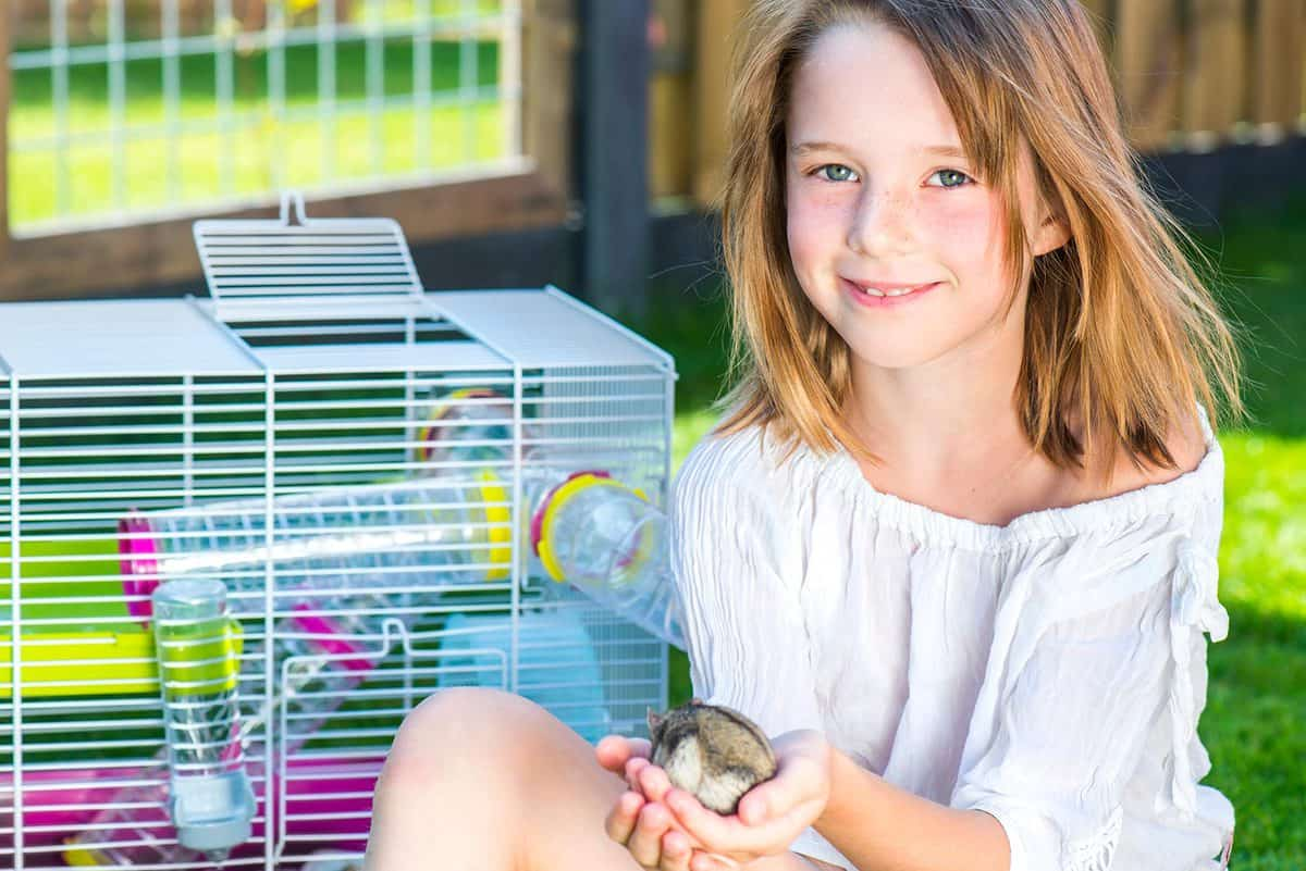 Girl with a small hamster in palms