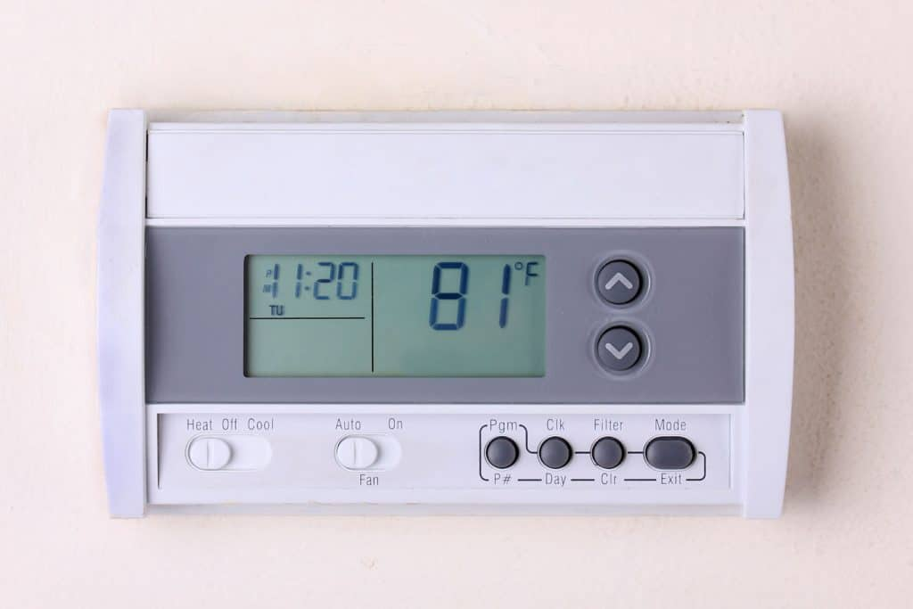 A thermostat set to a warm temperature